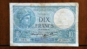 Click now to see the BUY IT NOW Price! 1939 FRANCE 10 FRANCS BANKNOTE 21 9 1939 NICE BETTER DATE CLASSIC PICK 84