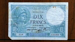 Click now to see the BUY IT NOW Price! 1940 FRANCE 10 FRANCS BANKNOTE 12 12 1940 NICE BETTER DATE CLASSIC PICK 84