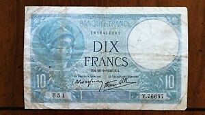 Click now to see the BUY IT NOW Price! 1940 FRANCE 10 FRANCS BANKNOTE 20 9 1940 NICE BETTER DATE CLASSIC PICK 84