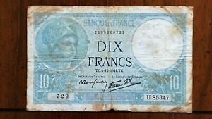 Click now to see the BUY IT NOW Price! 1941 FRANCE 10 FRANCS BANKNOTE 4 12 1941 NICE BETTER DATE CLASSIC PICK 84