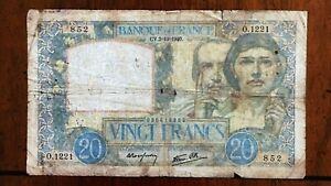 Click now to see the BUY IT NOW Price! 1940 FRANCE 20 FRANCS BANKNOTE 3 10 1940 NICE BETTER DATE CLASSIC PICK 92A