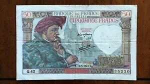 Click now to see the BUY IT NOW Price! 1941 FRANCE 50 FRANCS BANKNOTE 13 3 1941 NICE BETTER DATE CLASSIC PICK 93