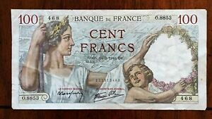 Click now to see the BUY IT NOW Price! 1940 FRANCE 100 FRANCS BANKNOTE 14 3 1940 NICE BETTER DATE CLASSIC PICK 94