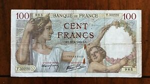Click now to see the BUY IT NOW Price! 1942 FRANCE 100 FRANCS BANKNOTE 23 4 1942 NICE BETTER DATE CLASSIC PICK 94