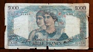 Click now to see the BUY IT NOW Price! 1946 FRANCE 1000 FRANCS BANKNOTE 21 2 1946 NICE BETTER DATE CLASSIC PICK 130A