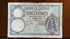Click now to see the BUY IT NOW Price! 1929 ALGERIA 20 FRANCS BANKNOTE 23 7 1929 FRENCH COLONY PICK 78B