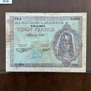 Click now to see the BUY IT NOW Price! 1943 ALGERIA 20 FRANCS BANKNOTE 29 11 1943 ALLIED OCCUPATION PICK 92