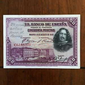 Click now to see the BUY IT NOW Price! 1928 SPAIN 50 PESETAS BANKNOTE VELAZQUEZ/PAINTING PICK 75B