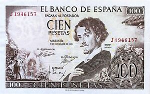 Click now to see the BUY IT NOW Price! 1965 SPAIN 100 PESETAS BANKNOTE BECQUER/PAINTING PICK 150 SERIAL  J 1946157