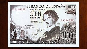 Click now to see the BUY IT NOW Price! 1965 SPAIN 100 PESETAS BANKNOTE BECQUER/PAINTING PICK 150 SERIAL  I 5310328