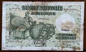 Click now to see the BUY IT NOW Price! 1944 BELGIUM 50 FRANCS / 10 BELGAS BANKNOTE 03 01 44 PICK 106