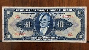 Click now to see the BUY IT NOW Price! 1943 BRAZIL 10 CRUZEIROS BANKNOTE PICK 135 LOW SERIAL 001869