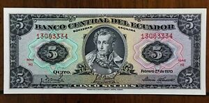 Click now to see the BUY IT NOW Price! 1970 ECUADOR 5 SUCRES BANKNOTE TDLR 02.27 SUCRE/ARMS PICK 113 UNCIRCULATED