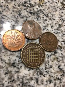 THREE PENCE COIN 1953 LINCOLN PENNY 1981 D CANADA 1 CENT 1959 & 1984 FAST SHIP