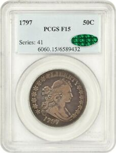 Click now to see the BUY IT NOW Price! 1797 50C PCGS/CAC F15   BUST HALF DOLLAR   KEY EARLY BUST