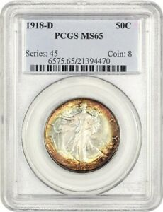 Click now to see the BUY IT NOW Price! 1918 D 50C PCGS MS65   BEAUTIFUL RIM TONING   WALKING LIBERTY HALF DOLLAR
