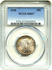 1920 25C PCGS MS67   STANDING LIBERTY QUARTER   PRETTY TONING