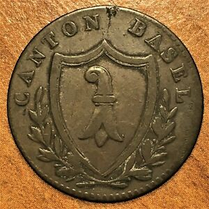 Click now to see the BUY IT NOW Price! 1810 SWITZERLAND CANTON BASEL 1 BATZEN COIN BILLON KM 196 F