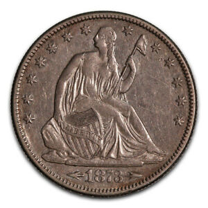 SEATED LIBERTY HALF DOLLAR ALMOST UNCIRCULATED 1873 ARROWS