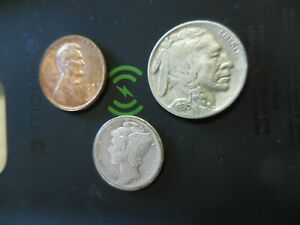 LOT OF 3 U.S. COINS 1927 LIBERTY DIME/1936 BUFFALO NICKEL / 1948 D WHEAT PENNY