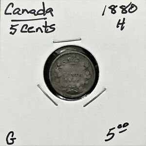 Click now to see the BUY IT NOW Price! 1880 H CANADA 5 CENTS SILVER COIN QUEEN VICTORIA G