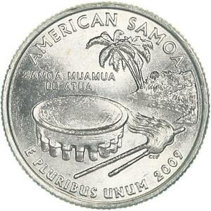 2009 P TERRITORIES QUARTER AMERICAN SAMOA CHOICE BU CN CLAD US COIN