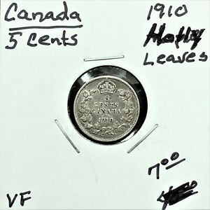 Click now to see the BUY IT NOW Price! 1910 CANADA 5 CENTS SILVER COIN HOLLY LEAVES EDWARD VII VF