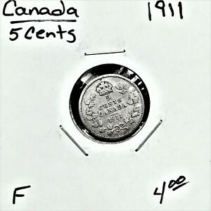 1911 CANADA 5 CENTS SILVER COIN KING GEORGE V F