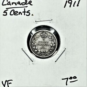 Click now to see the BUY IT NOW Price! 1911 CANADA 5 CENTS SILVER COIN KING GEORGE V VF