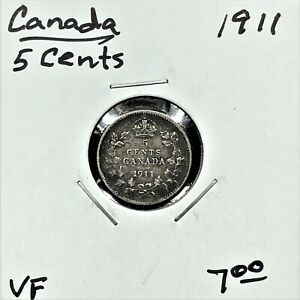 Click now to see the BUY IT NOW Price! 1911 CANADA 5 CENTS SILVER COIN GEORGE V VF
