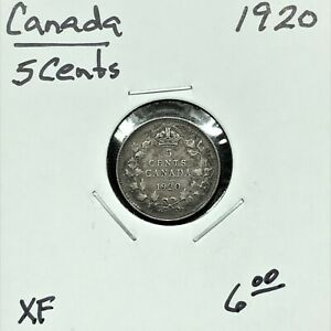 Click now to see the BUY IT NOW Price! 1920 CANADA 5 CENTS SILVER COIN KING GEORGE V XF