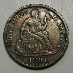 1891 SILVER SEATED LIBERTY DIME GRADING XF ORIGINAL UNCLEANED SURFACES    T47