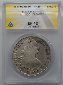 1807 MEXICO 8 REALES LARGE SILVER COIN MO TH ANACS VF 30 DETAILS CLEANED