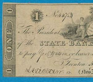 $1.00 1822 THE STATE BANK OF TRENTON  NEW JERSEY   VF OBSOLETE