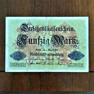 Click now to see the BUY IT NOW Price! 1914 GERMANY 50 MARKS BANKNOTE 6 DIGIT SERIAL  F NR 489779 PICK 49A