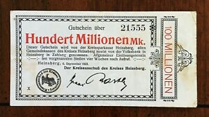 Click now to see the BUY IT NOW Price! 1923 CITY OF HEINSBERG GERMANY 100 MILLION MARK LOCALLY ISSUED INFLATION NOTE