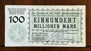 Click now to see the BUY IT NOW Price! 1923 CITY OF NIEDERMARSBERG GERMANY 100 MILLION MARK NOTE NOTGELD   HAND SIGNED