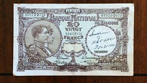 Click now to see the BUY IT NOW Price! 1944 BELGIUM TWENTY 20 FRANCS BANKNOTE   ISSUE DATE 03 01 1944