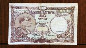 Click now to see the BUY IT NOW Price! 1944 BELGIUM TWENTY 20 FRANCS BANKNOTE   ISSUE DATE 29 11 1944