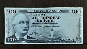 Click now to see the BUY IT NOW Price! 1961 ICELAND 100 KRONUR BANKNOTE PICK 44