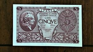 Click now to see the BUY IT NOW Price! 1944 ITALY 5 LIRE BANKNOTE ATHENA SIG.B C PICK 31C BLOCK 0850 UNCIRCULATED