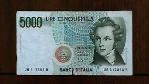 Click now to see the BUY IT NOW Price! 1985 ITALY 5000 LIRE BANKNOTE PICK 111B SERIAL 617854