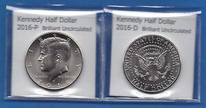 KENNEDY HALF DOLLARS: 2016 P AND 2016 D FROM MINT ROLLS