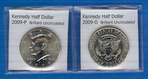 KENNEDY HALF DOLLARS: 2009 P AND 2009 D FROM MINT ROLLS
