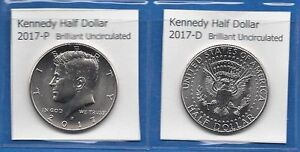 KENNEDY HALF DOLLARS: 2017 P AND 2017 D FROM MINT ROLLS