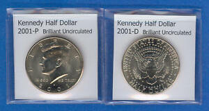 KENNEDY HALF DOLLARS: 2001 P AND 2001 D FROM MINT ROLLS