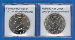 KENNEDY HALF DOLLARS: 2002 P AND 2002 D FROM MINT ROLLS