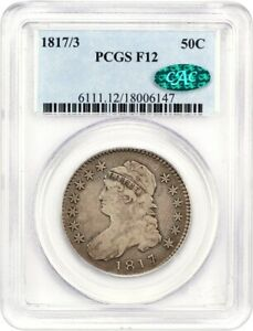 1817/3 50C PCGS/CAC F12   TOUGH OVERDATE   BUST HALF DOLLAR   TOUGH OVERDATE