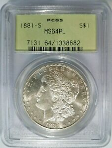 1881 S SILVER MORGAN DOLLAR PCGS MS 64 PL PROOF LIKE GRADED COIN MIRRORS GEM OGH