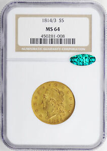 Click now to see the BUY IT NOW Price! 1814/3 CAPPED BUST $5 NGC MS 64
